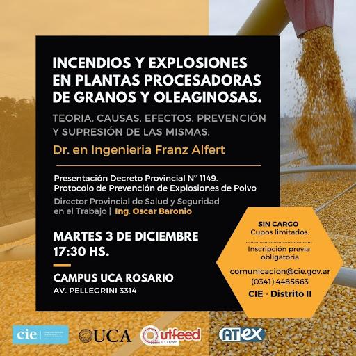 «Jornada de capacitación 2019 – Incendios y Explosiones en plantas procesadoras de granos y oleaginosas.»